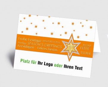 Logo-Weihnachtskarte 157525-103 international, Sterne orange