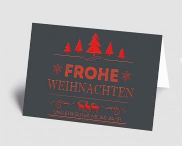 Weihnachtskarte 157526-100 Vintage Line: Frohe Weihnachten rot