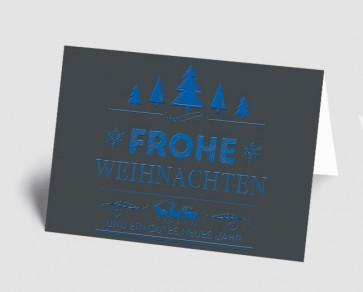 Weihnachtskarte 157526-101 Vintage Line: Frohe Weihnachten blau