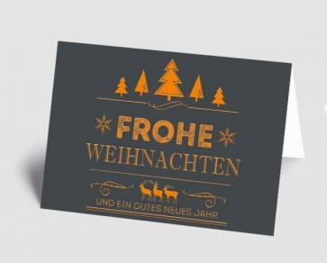 Weihnachtskarte 157526-103 Vintage Line: Frohe Weihnachten orange