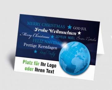 Logo-Weihnachtskarte 157527-112 international, Weltkugel