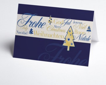 Weihnachtskarte 150027-101 Weihnachtsgrüße international  blau
