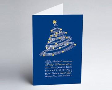 Weihnachtskarte 150138-101 Moderner Weihnachtsbaum blau