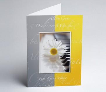 Grusskarte 150969-112 zum Geburtstag Margerite, grau/gelb