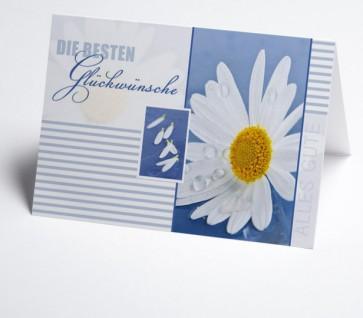 Grusskarte 150983-112 mit Margerite, weiß/blau