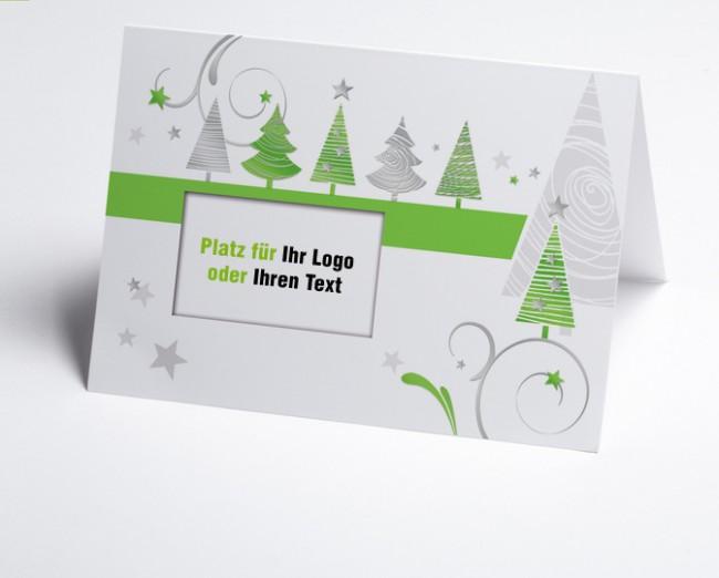 Weihnachtskarten Mit Firmenlogo.Logo Weihnachtskarte 150323 102 Grüne Grafische Bäume
