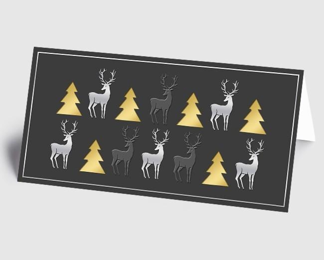 Moderne Weihnachtskarten.Weihnachtskarte 1519332 Moderne Elemente Hirsch Und Baum Grau Gold