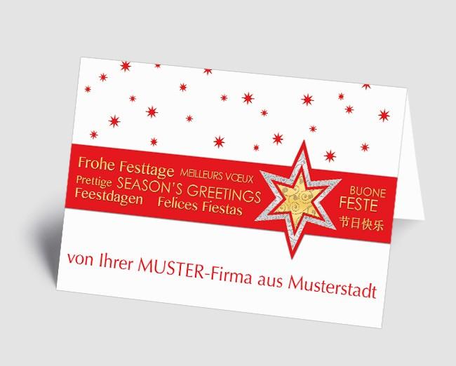Grüße aus... Weihnachtskarte 157525-113 international, Sterne rot /