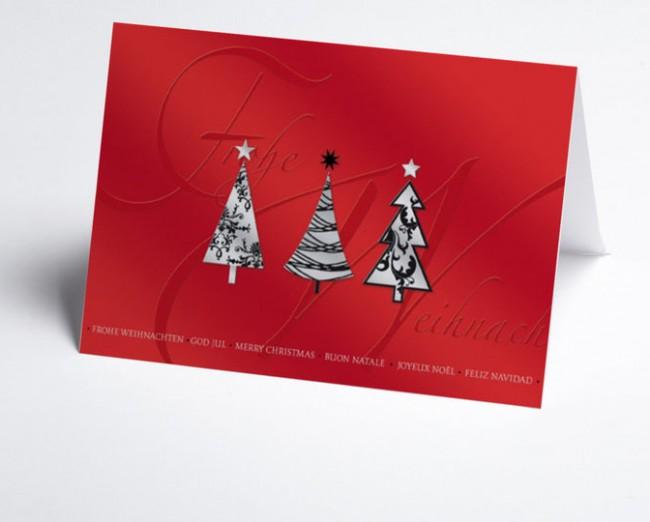 Moderne Weihnachtskarten.Weihnachtskarte 150022 100 Moderne Weihnachtsbaume Rot
