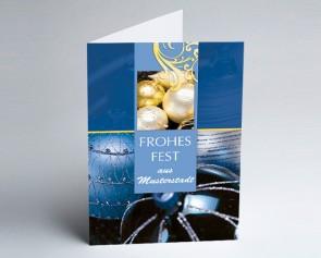 Grüße aus... Weihnachtskarte 150016-113 Klassische Eleganz blau