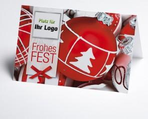 Logo-Weihnachtskarte 150089-100 mit Kugeln rot