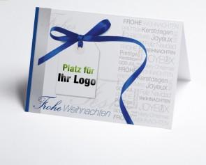Logo-Weihnachtskarte 150162-101 blau Schleife