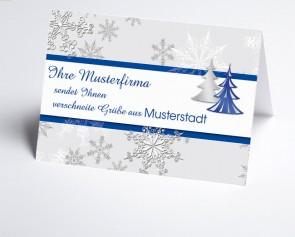 Grüße aus... Weihnachtskarte 150176-113 Schneeflocke und Baum in blau