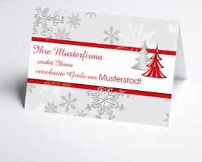 Grüße aus... Weihnachtskarte 150177-113 Schneeflocke und Baum in rot
