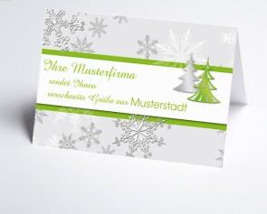Grüße aus... Weihnachtskarte 150178-113 Schneeflocke und Baum in grün