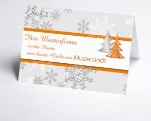Grüße aus... Weihnachtskarte 150179-113 Schneeflocke und Baum in orange