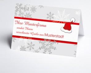 Grüße aus... Weihnachtskarte 150180-113 Mütze und Schneeflocken