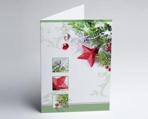 Weihnachtskarte 150191-112 Weihnachtszauber grün und rot