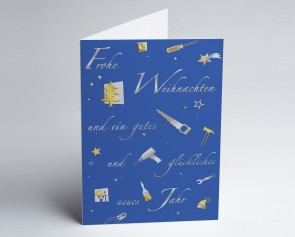 Weihnachtskarte 150227-101 Branche Bau und Handwerk blau