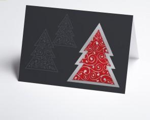 Weihnachtskarte 150239-100 Moderner roter Baum