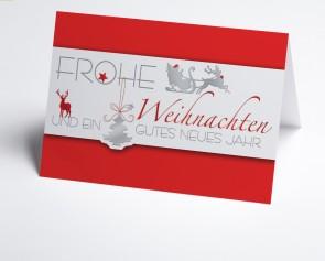Weihnachtskarte 150240-100 Roter Weihnachtsgruß