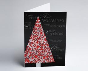 Weihnachtskarte 150249-100 Eleganter roter Baum international