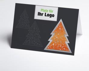Logo-Weihnachtskarte 150289-103 moderner oranger Baum