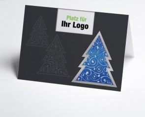 Logo-Weihnachtskarte 150292-101 moderner blauer Baum