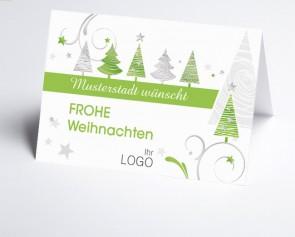 Grüße aus... Weihnachtskarte 150323-113 grüne grafische Bäume