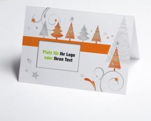 Logo-Weihnachtskarte 150324-103 orange grafische Bäume