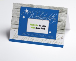 Logo-Weihnachtskarte 150328-101 blau Holzoptik