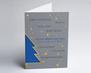 Weihnachtskarte 150355-101 Blauer Baum international