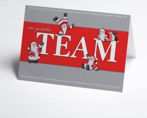 Weihnachtskarte 150359-100 Weihnachtsmann Teamkarte rot