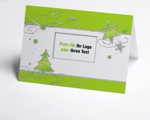 Logo-Weihnachtskarte 150364-102 grüner Baum und Sterne