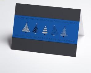 Weihnachtskarte 150381-101 blaue Banderole