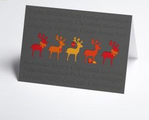 Weihnachtskarte 150382-103 bunte Hirsche
