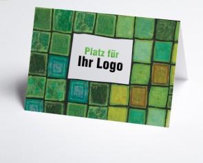 Logo-Grusskarte 150927-102 grafisch, Grün-Schattierungen
