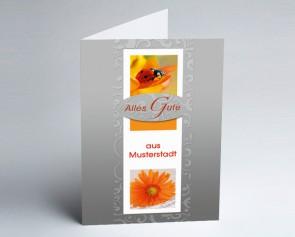 Grüße aus... Glückwunschkarte 150930-113 Marienkäfer und Blüte