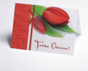 Osterkarte 150935-112 rote Tulpen