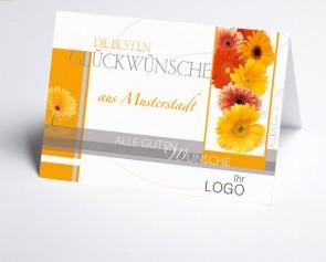 Grüße aus... Glückwunschkarte 150938-113 bunte Gerberablüten