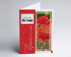 Logo-Grusskarte 150940-112 Mohn, rot/grün