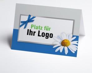Logo-Grusskarte 150946-101 Margerite, blau/grau