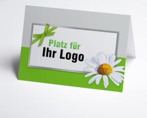 Logo-Grusskarte 150947-102 Margerite grün/grau