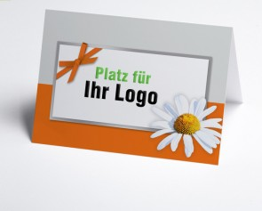 Logo-Grusskarte 150948-103 Margerite, orange/grau