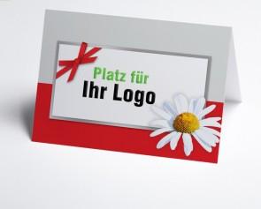 Logo-Grusskarte 150949-100 Margerite, rot/grau
