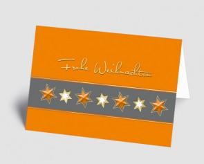 Weihnachtskarte 1518324 Sternenband orange