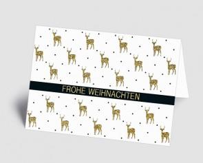 Weihnachtskarte 1518333 Hirsche weiß-gold