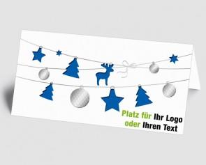 Logo-Weihnachtskarte 1518418 blaue Weihnachtselemente