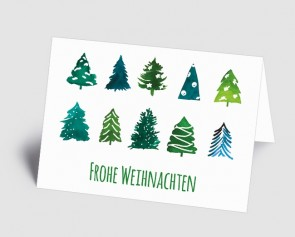 Weihnachtskarte 1519301 Aquarell-Bäume