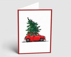 Weihnachtskarte 1519306 Auto und Weihnachtsbaum